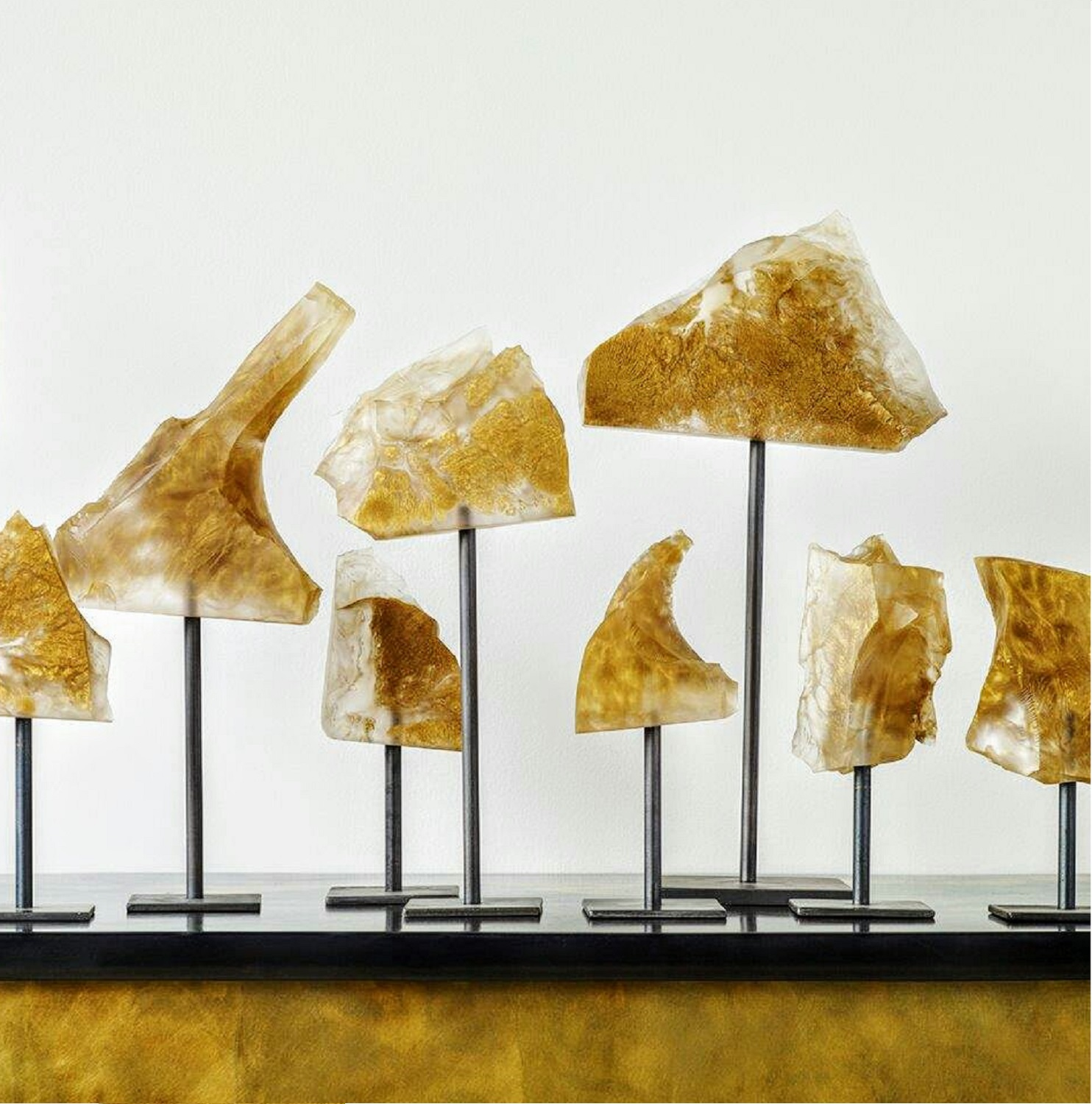 Fracture Sculptures, various sizes, available colours: New Gold