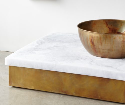 floating table white marble brass - sturdy brass bowl -undulating - Copy